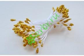 Тычинки двусторонние 4 мм, золото с глиттером