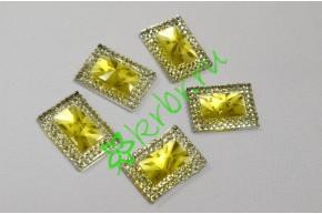 Стразы двухцветные прямоугольные серебро/золото, 5 шт