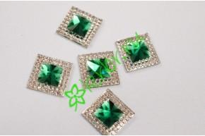 Стразы двухцветные квадратные серебро/зеленый, 5 шт