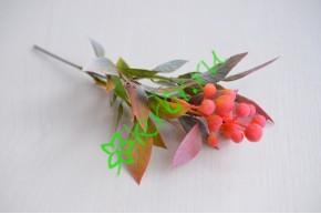 Ветка с ягодками Сабрина коралл, шт