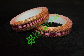 Лента кружевная золото/розовая 20 мм, 3 м
