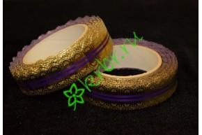 Лента кружевная золото/фиолетовая 30 мм, 3 м