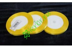 Лента атласная лимонная 6 мм, метр