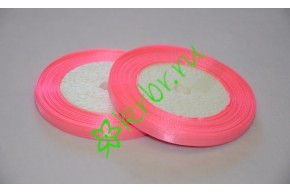 Лента атласная розовая Барби 6 мм, метр