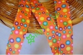 Репсовая лента Цветные пузырьки оранжевая