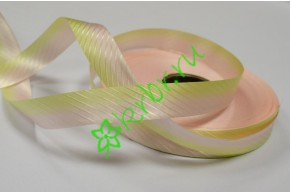 Лента полипропилен с тиснением переход салатово-розовая, 3 м