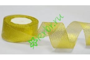 Лента парча золото 40 мм, 1 м