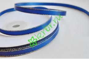 Лента атласная двусторонняя с люрексом синяя, 1 м