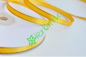 Лента атласная двусторонняя с люрексом золото, 1 м