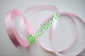 Лента атласная горох светло-розовая 12 мм, 1 м
