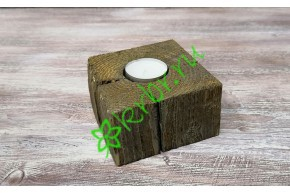 Подсвечник деревянный 10х10х6 см, орех