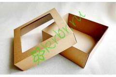 Подарочная коробка крафт кр/дно с окном 25х25х10 см, шт