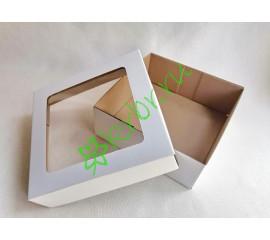 Подарочная коробка с окном Белая 25х25х10 см, шт