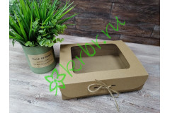 Подарочная коробка с окном Крафт 25х20х7 см, шт