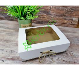 Подарочная коробка с окном Белая 25х20х7 см, шт