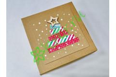 Подарочная коробка крафт с декором Елка 15х15х6 см, шт