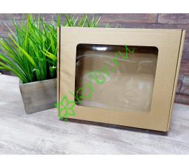Подарочная коробка с окном самосборная Крафт 22х26х4,5 см, шт