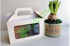 Подарочная коробка с ручкой + окно Белая 18х11х10 см, шт