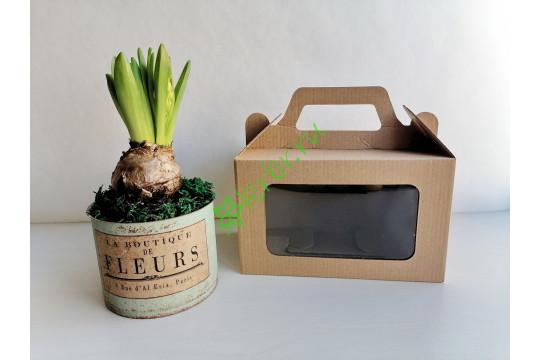 Подарочная коробка с ручкой + окно Крафт 18х11х10 см, шт
