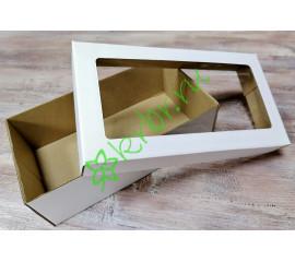 Подарочная коробка Белая с окном 17х10х5 см, шт