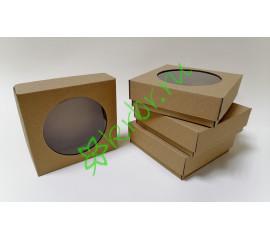 Подарочная коробка крышка дно с окном Крафт 12х12х4 см, шт