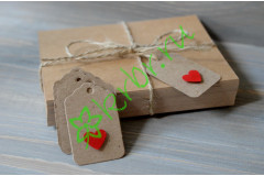 Бирка фигурная крафт с сердечком, 5 шт