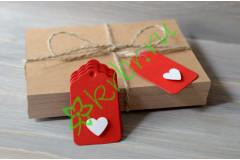 Бирка фигурная красная с сердечком, 5 шт