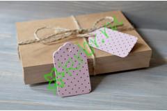 Бирка фигурная розовая в горошек, 5 шт