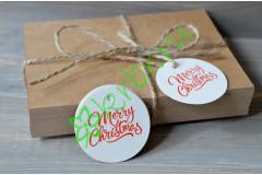 """Бирка круглая белая """"Merry Christmas"""", 5 шт"""