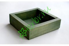 Ящик декоративный универсальный 15х15х4,5 см, пыльный оливковый
