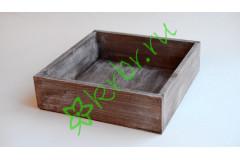 Ящик бокс  деревянный 25х25х7,5 см, миланский орех