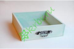 Ящик бокс  деревянный с фурнитурой 25х25х7,5 см, мятный