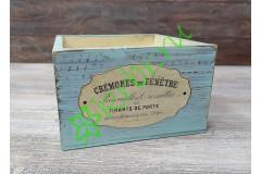 Кашпо ящик 15х15х9,5 см с декором, состаренный голубой