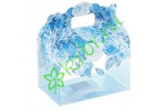 Коробочка сборная Цветы, голубая