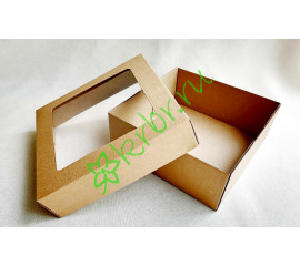 Подарочная коробка крафт с окном 20х20х8 см, шт