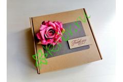 Подарочная коробка 18х18х6 см с декором Роза джеральдин, шт