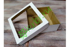 Подарочная коробка кр/дно с окном Белая 15х15х6 см, шт