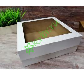 Подарочная кор. кр/дно с окном Белая 30х30х14 см, от 50 шт