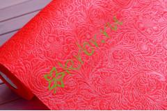 Фетр ламинированный 3D Цветущий сад красный, м