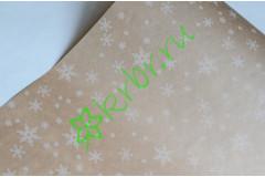 """Крафт бумага с новогодним принтом """"Белые снежинки"""" , метр"""
