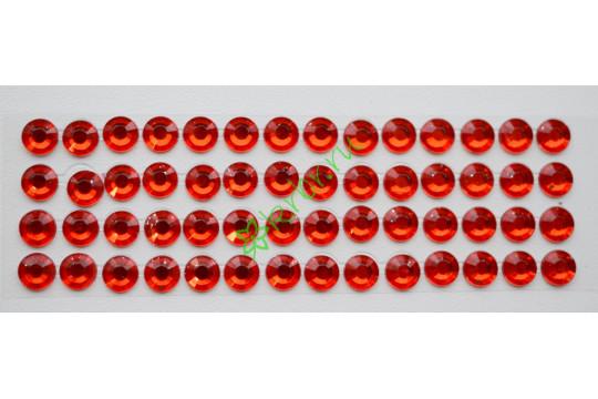 Стразы самоклеющиеся красные, 6 мм