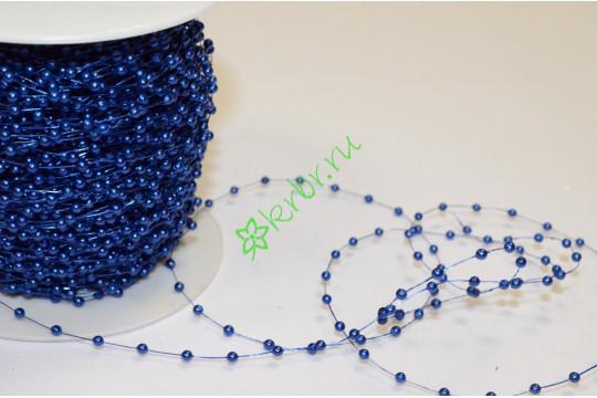 Бусины 2 мм на нити, синий