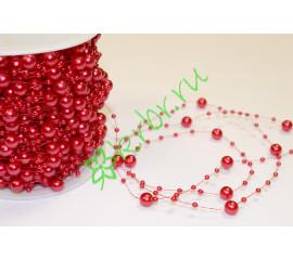 Бусины Шарики 8 мм на нити, красный