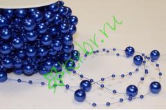 Бусины Шарики 14 мм на нити, синий