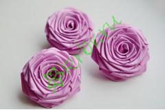 Роза из атласной ленты большая светло-лиловая, шт.