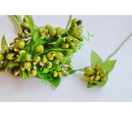 Тычинки в букетике Свадебные оливковые, 1 шт.