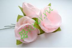 Камелия из атласной ленты нежно-розовая, шт.