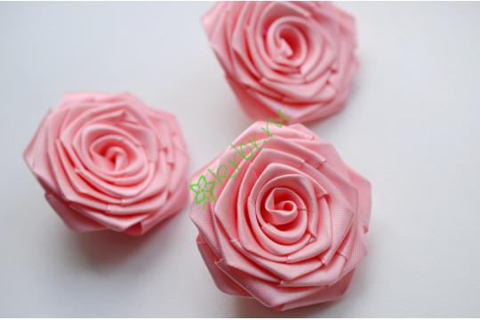 Роза из атласной ленты большая розово-персиковая, шт.