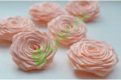 Роза из атласной ленты малая персиковая, шт.