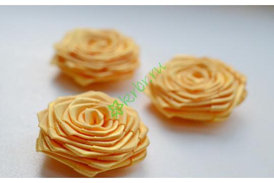Роза из атласной ленты малая золото, шт.